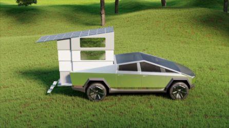 Questo è il camper del futuro ideato per completare e migliorare la Tesla Cybertruck