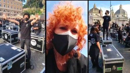 """Protesta dei """"bauli"""" in Piazza del Popolo: c'è anche Fiorella Mannoia"""