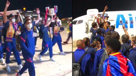 "Copa del Rey, i calciatori del Barcellona cantano ""Bella Ciao"""