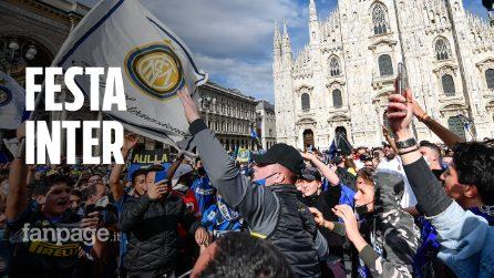 Inter campione d'italia, maxi festa in Duomo con assembramenti e tanti senza mascherina