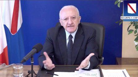 """De Luca sulla Superlega di Agnelli: """"Un disastro, atto di masochismo. Dio c'è"""""""
