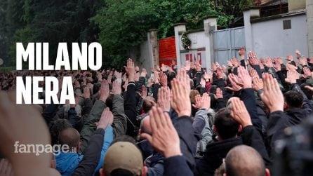 Saluto romano e assembramenti durante il presidio a Milano in ricordo di Sergio Ramelli