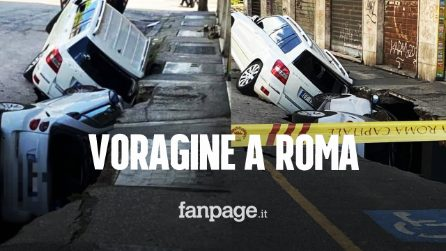 Roma, si apre una voragine in strada: macchine inghiottite, crollo in un garage
