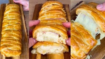 Treccia di pasta sfoglia con prosciutto, patata e provola: l'idea salva cena facile e veloce!