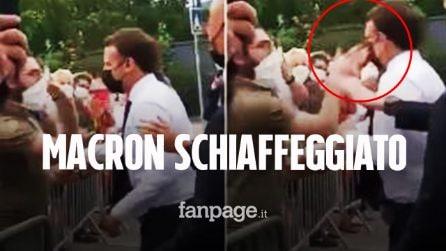 Il presidente Emmanuel Macron schiaffeggiato mentre salutava la folla: arrestate due persone