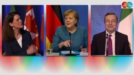 Siparietto Draghi-Merkel sulla parità tra uomo e donna