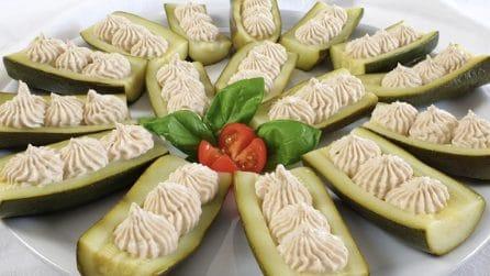 Barchette di zucchine con mousse di tonno: un contorno ricco e squisito