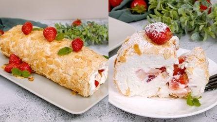 Almond roll cake: sweet, original and tasty!