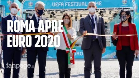 """Inaugurata a Roma la FanZone di Euro2020. Raggi: """"Siamo la città della ripartenza"""""""