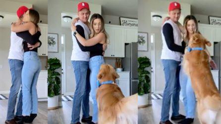I suoi giovani padroni si abbracciano, ma la reazione del cane è immediata
