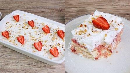 Torta fredda allo yogurt e fragole: perfetta da assaporare nei pomeriggi estivi!