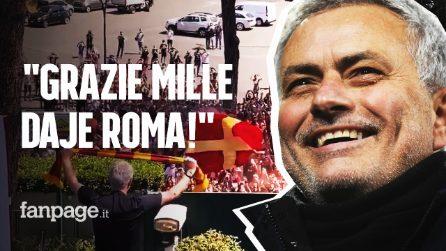 """Josè Mourinho arriva a Roma, tifosi pazzi per lo Special One: """"Grazie di cuore, DAJE ROMA"""""""