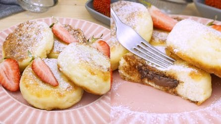 Cottage cheese pancakes: the delightful dessert with chocolate heart!