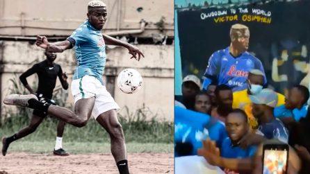Osimhen gioca con la maglia del Napoli in Nigeria: le immagini emozionanti tra la sua gente