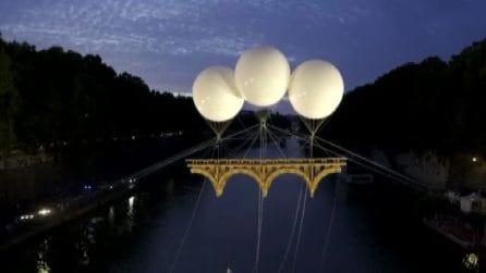 Sul Tevere un ponte volante di 18 metri: omaggio a Michelangelo