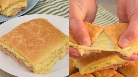 Rustichella soffice con zucchine, prosciutto e formaggio: adatta per stuzzicare l'appetito!