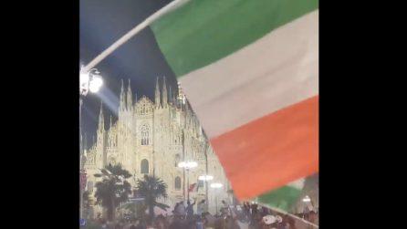 Milano, i festeggiamenti in piazza Duomo dopo la vittoria dell'Italia a Euro 2020