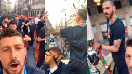 """Bonucci e compagni guidano i cori dal pullman: """"Chi non salta un inglese è"""""""