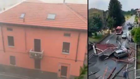Maltempo, tromba d'aria spazza via un tetto a Gallarate