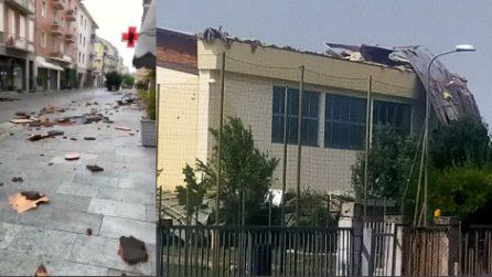 Fidenza, tromba d'aria si abbatte sulla zona: cedono tetti di alcuni edifici