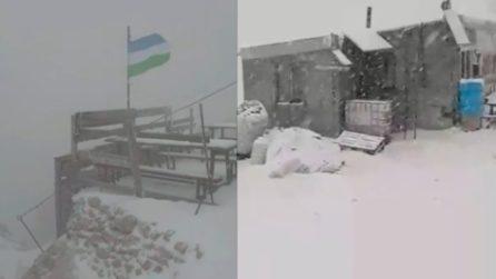 Tormenta di neve e clima rigido sulla Marmolada