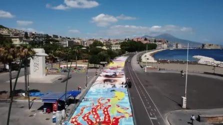 Napoli, murales a terra di 3 chilometri quadrati: l'opera di Jorit