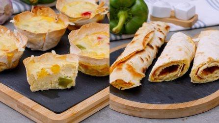 Cestini di piadina e frittata arrotolata: 2 versioni originali per una cena pronta in un attimo!