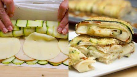 Rotolo di zucchine, prosciutto e provola: per una cena fuori dal comune!