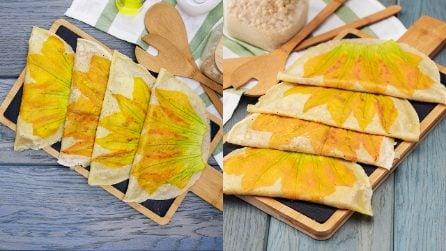 Crepes ai fiori di zucca con prosciutto e formaggio: una ricetta semplice da portare in tavola!