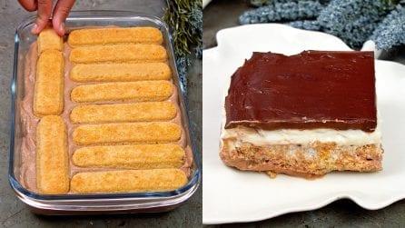 Quadrotti freddi al cioccolato e panna: golosi e senza cottura!