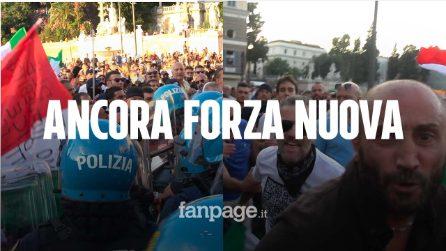 Roma, Forza Nuova ancora in piazza contro il Green Pass: scontri con la polizia