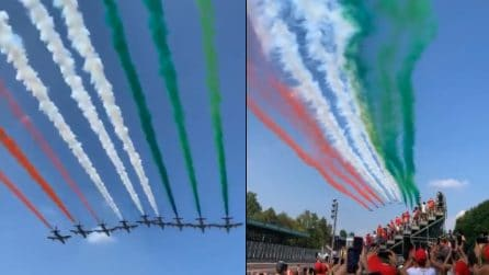 Gp Monza, lo spettacolo delle Frecce Tricolori sul circuito