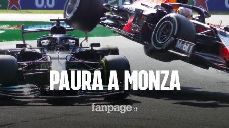 Pauroso incidente tra Hamilton e Verstappen al Gran Premio di Monza: l'halo ha salvato Lewis