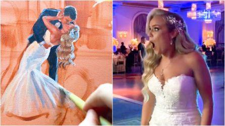 L'artista che realizza quadri lampo ai matrimoni trasformando i momenti più belli in opere d'arte