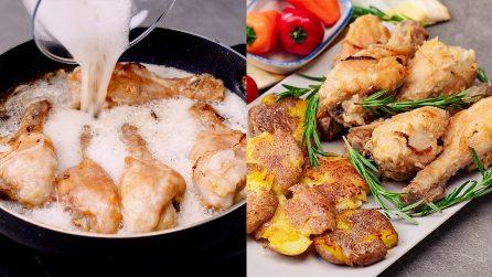 Pollo alla birra con patate schiacciate: facile e veloce da preparare in padella!