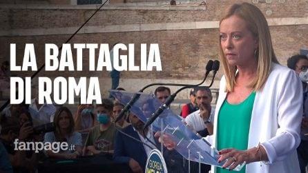 """Meloni in campo a Roma per Michetti: """"Obiettivo è vittoria, non la leadership del centrodestra"""""""