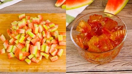 Candied watermelon: the exquisite trick to recycle watermelon peel!