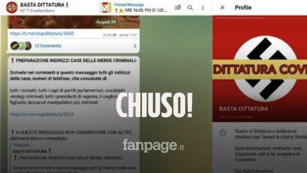 """Chiusoil canale Telegram """"Basta Dittatura"""":era la chat principale di no vax e complottisti"""