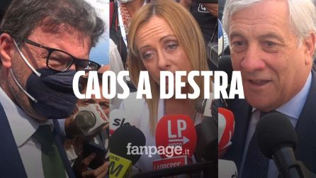 """Centrodestra cerca unità, Tajani: """"Giorgetti si è pentito"""". Meloni: """"Solo polemiche, siamo compatti"""""""