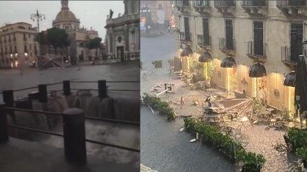 """""""5 minuti di acqua e tutto distrutto"""": i disagi a Piazza Duomo a Catania"""