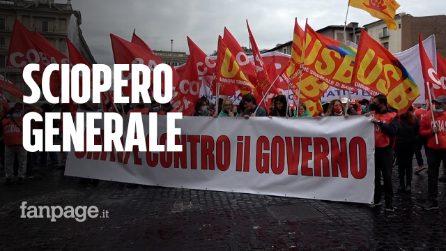 """Roma, corteo dei Cobas contro governo: """"Lottiamo per diritti e lavoro, non c'è solo green pass"""""""