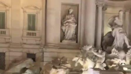 Roma, bagno con nuotata nella Fontana di Trevi: le immagini