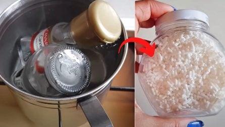 Come rimuovere la colla degli adesivi sui barattoli